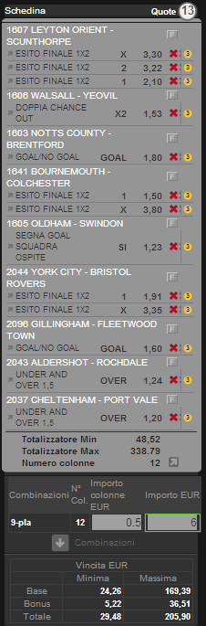 sistema matematico league one league two 15 dicembre 2012